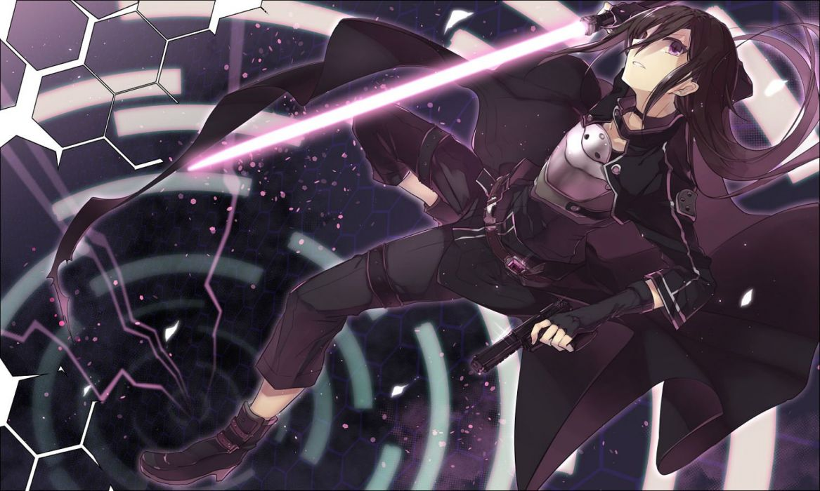 black hair gun gun gale online kazutake hazano kirigaya kazuto long hair purple eyes sword sword art online weapon wallpaper