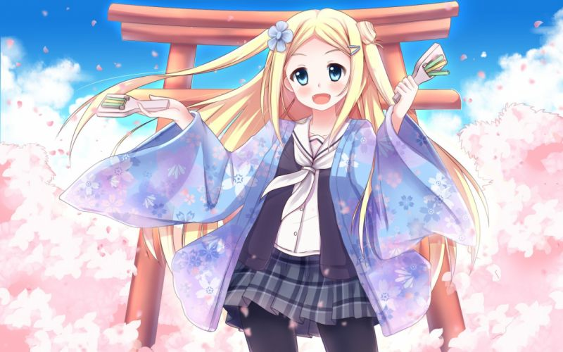 blonde hair blue eyes blush cherry blossoms fang hanayamata hannah n fontanstand japanese clothes long hair pantyhose parafox petals skirt torii wallpaper