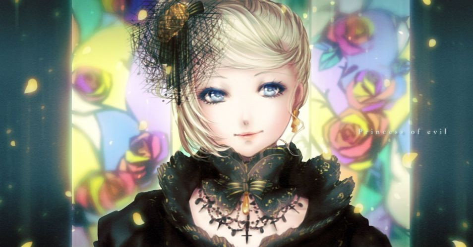 blonde hair blue eyes bow headdress kagamine rin shino (syllable) short hair story of evil (vocaloid) vocaloid wallpaper
