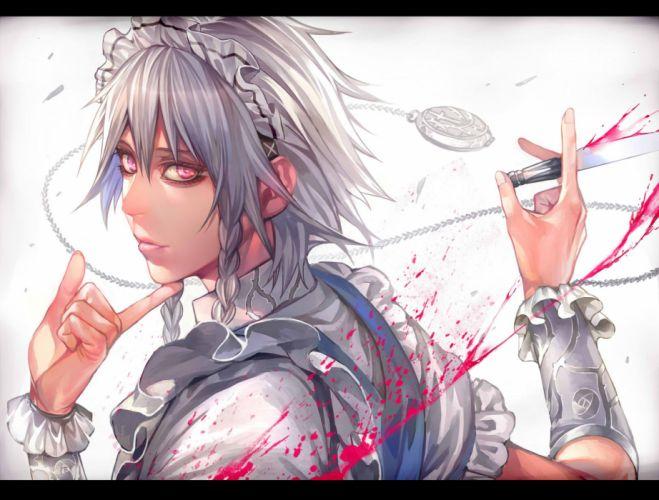 blood braids gray hair headdress izayoi sakuya jpeg artifacts knife long hair maid rby touhou weapon wristwear wallpaper