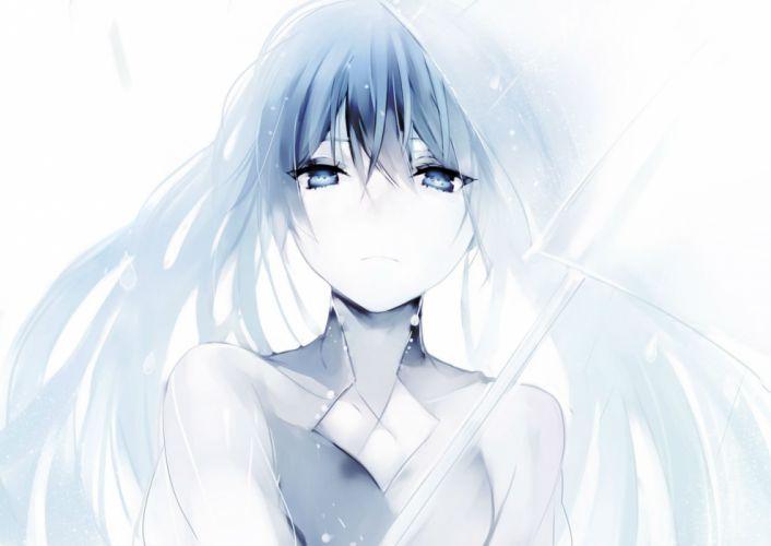 blue eyes blue hair lp (hamasa00) original rain umbrella water wallpaper