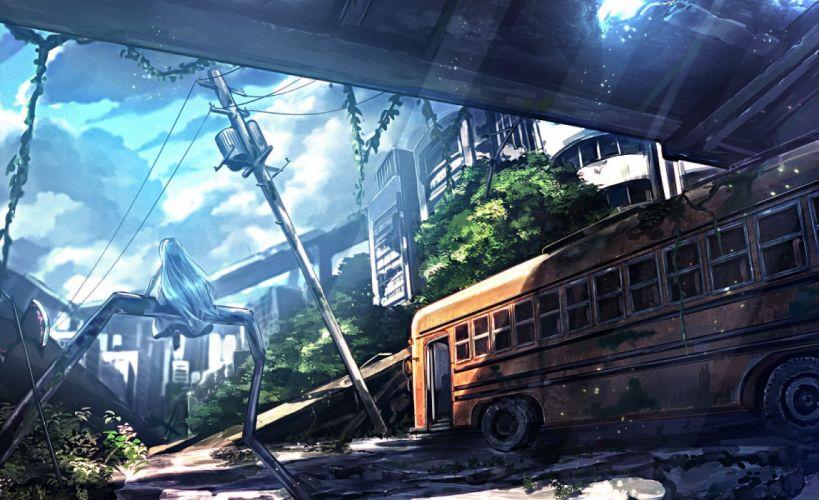 blue hair car city dress long hair original ruins ryosios scenic weapon wallpaper
