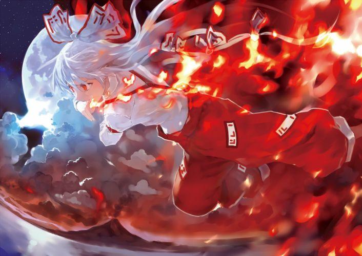 bob (biyonbiyon) fire fujiwara no mokou red eyes touhou white hair wallpaper