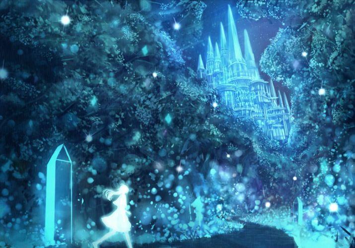 bou nin building night original silhouette sky tree wallpaper