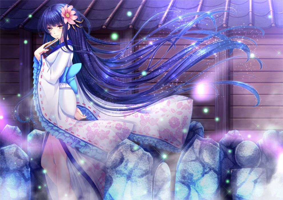 bow fan flowers japanese clothes kimono long hair original purple hair toshi yellow eyes wallpaper