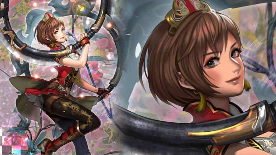 brown hair dynasty warriors green eyes short hair sun shang shiang weapon wallpaper