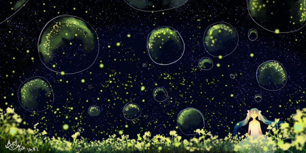 bubbles dress flowers hatsune miku hzrn (ymj924) night stars twintails vocaloid wallpaper