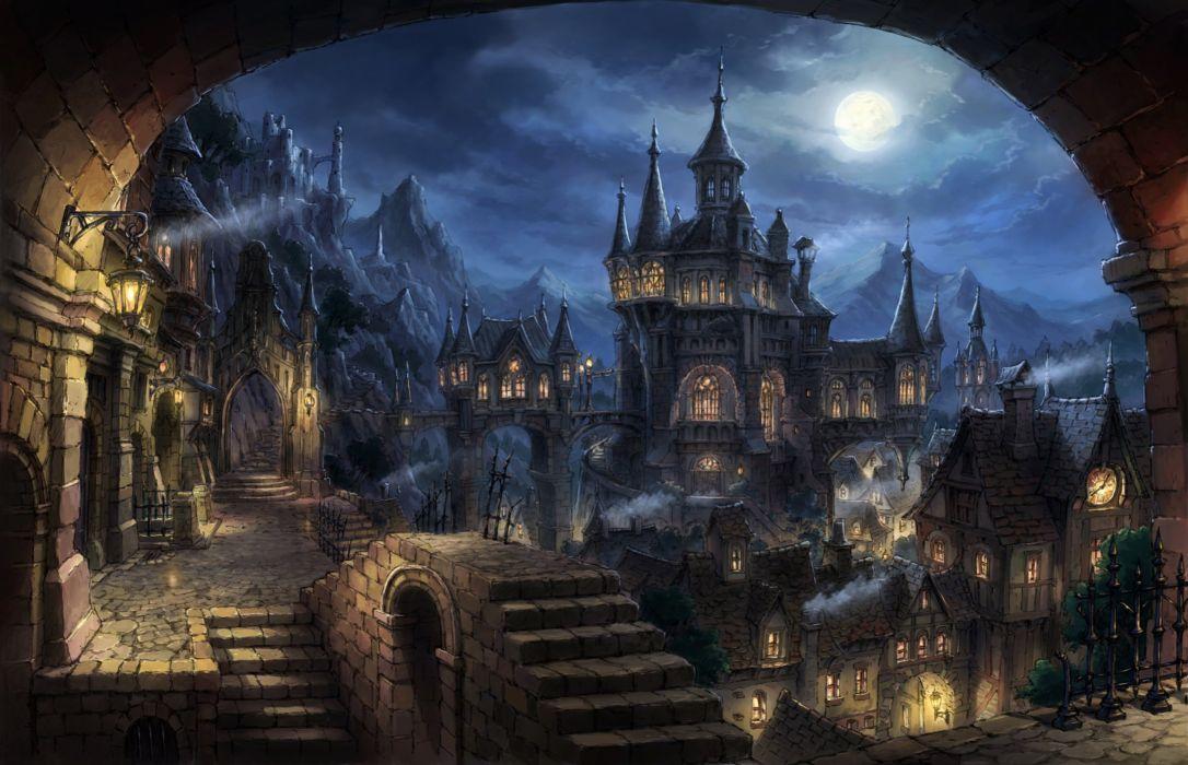 building city moon night nobody original scenic stairs tomaknights wallpaper