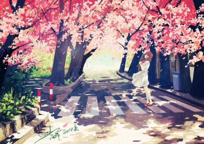 cherry blossoms dress original signed vividyuxi wallpaper