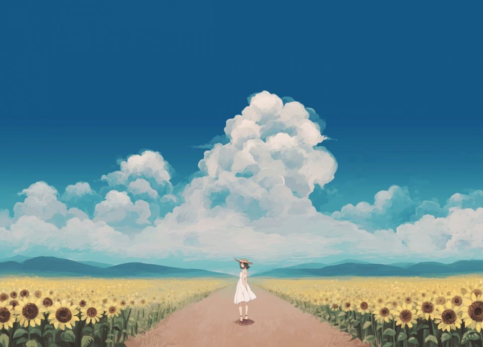 clouds dress flowers hat matsuki (mikipingpong) original scenic sky summer sunflower wallpaper