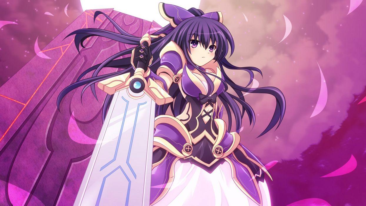 cross (crossryou) date a live long hair purple eyes purple hair sword weapon yatogami tohka wallpaper