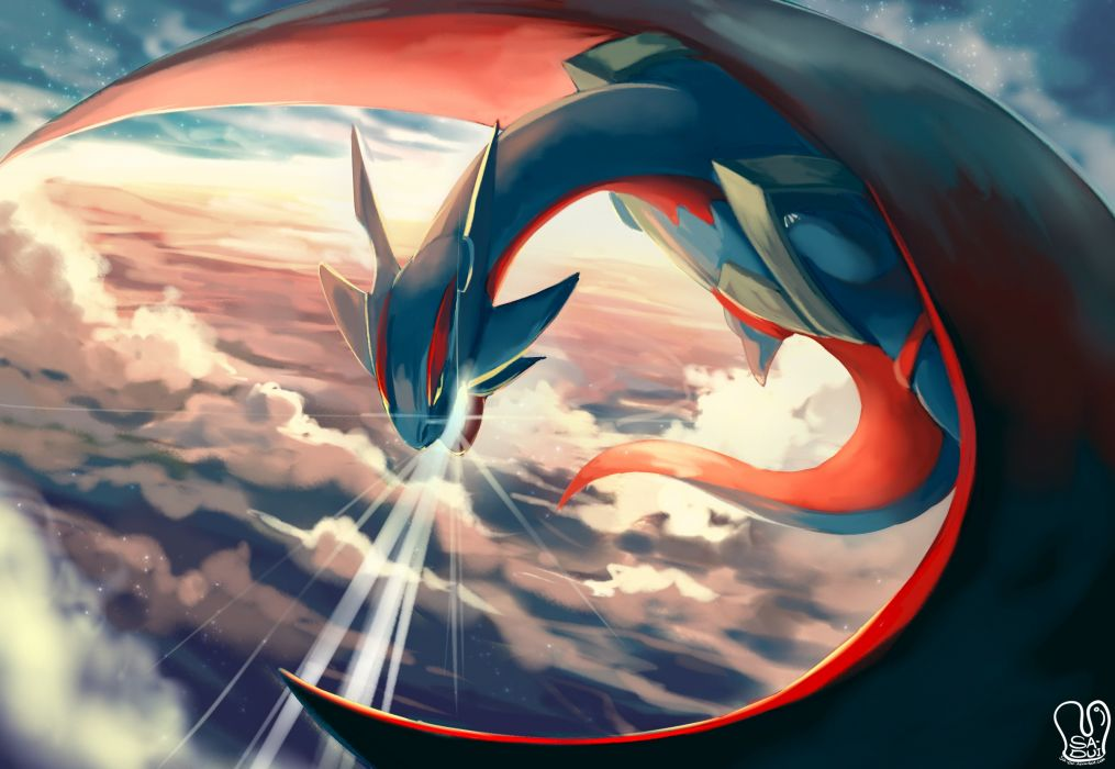 clouds dragon mega salamence pokemon sa-dui salamence sky watermark wallpaper
