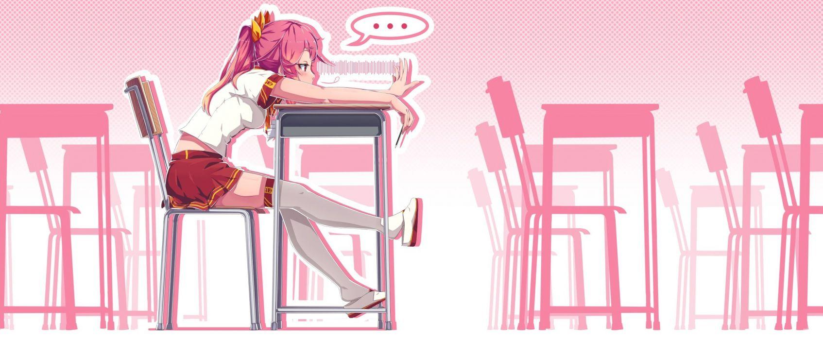 dev long hair original pink hair ribbons seifuku skirt thighhighs twintails wallpaper