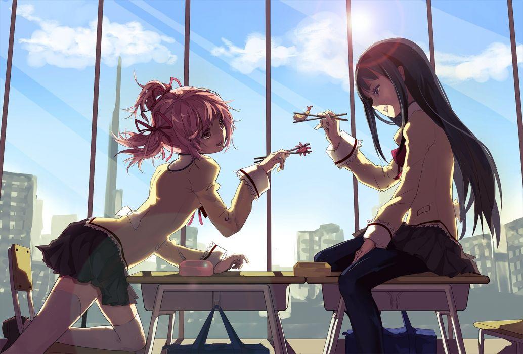 girls akemi homura black hair bow food headband long hair pantyhose pink hair ribbons seifuku short hair skirt thighhighs twintails xiawenting wallpaper