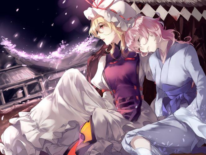 girls blonde hair dress hat hug (yourhug) japanese clothes petals pink hair red eyes saigyouji yuyuko sleeping tears touhou yakumo yukari wallpaper