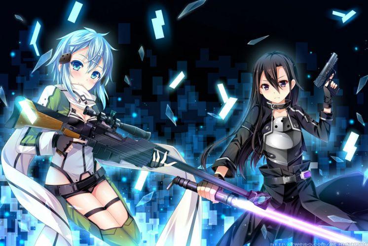 grandia (artist) gun gun gale online kirigaya kazuto shinon (sao) sword sword art online weapon wallpaper