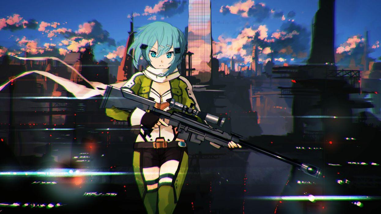 gun gun gale online jumpei99 shinon (sao) sword art online weapon wallpaper