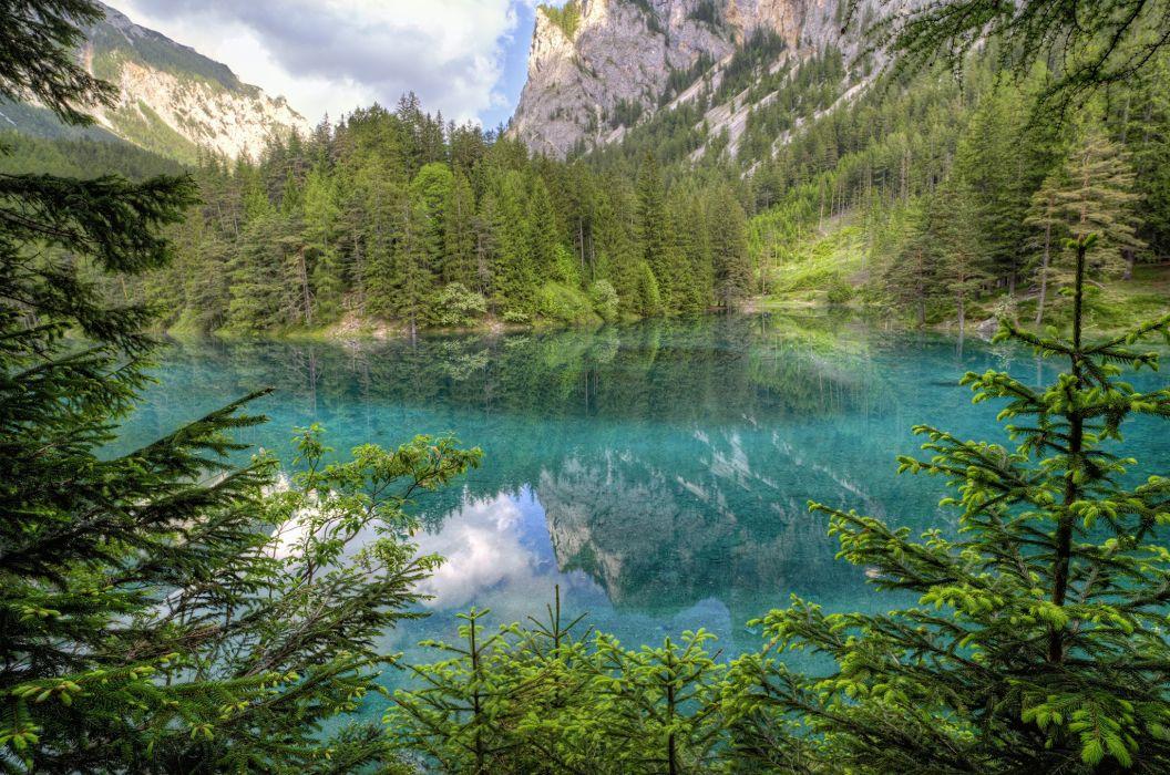 Austria lake mountains trees landscape wallpaper
