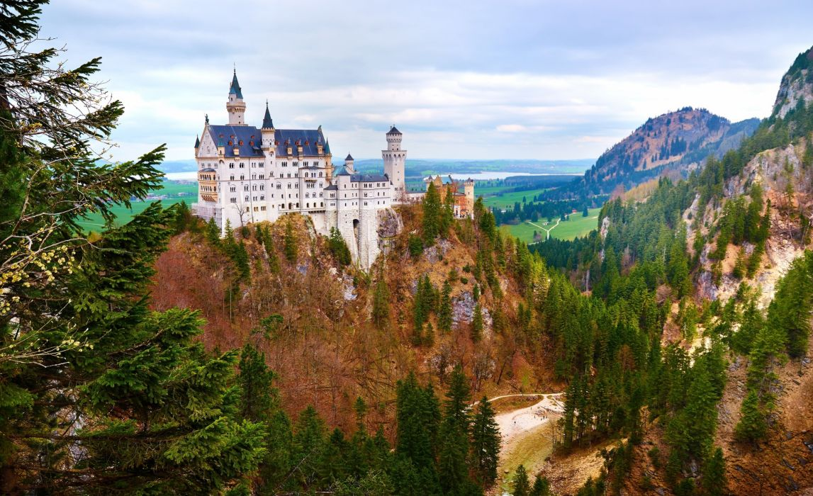 Bavaria Germany rock forest oseny zamok landscape castle wallpaper