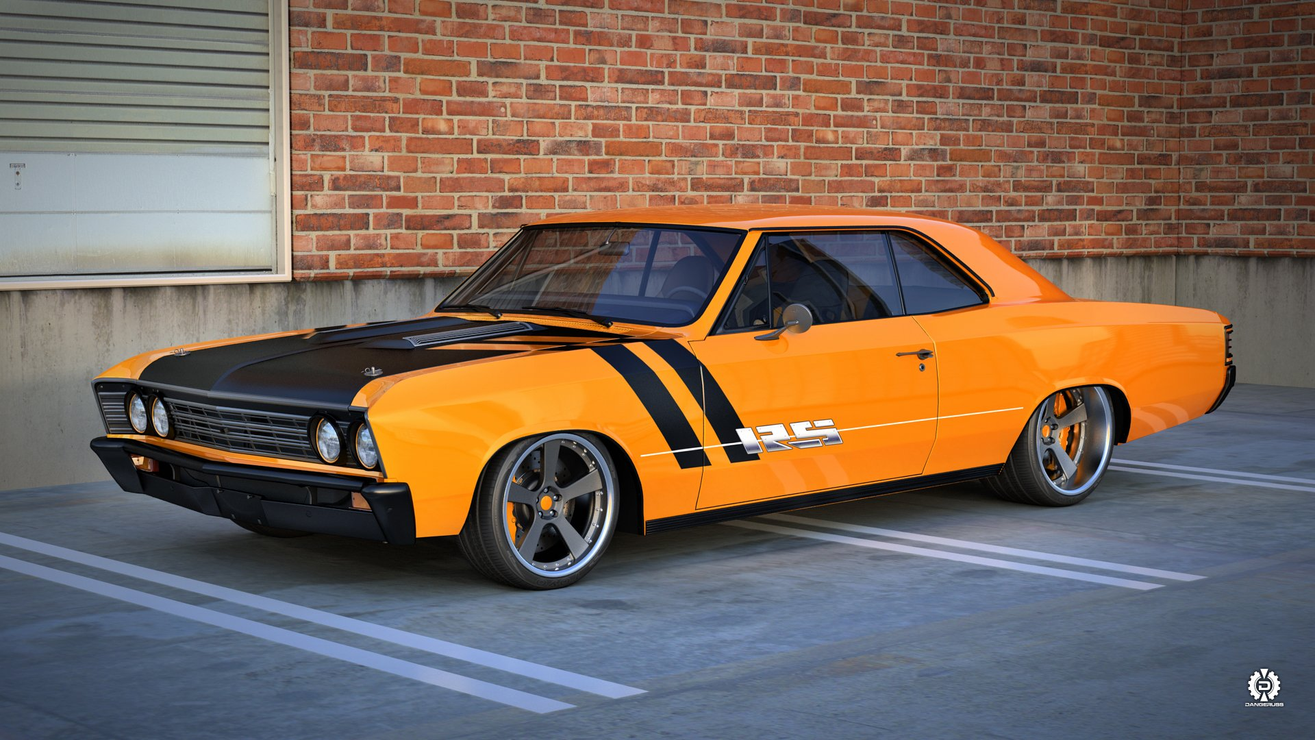 Chevelle chevrolet muscle car render dangeruss tuning hot rod rods ...