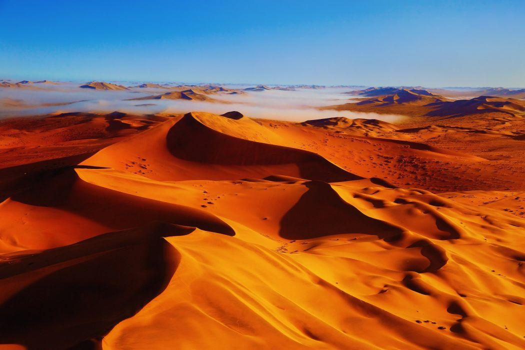 dunes sky desert fog wallpaper