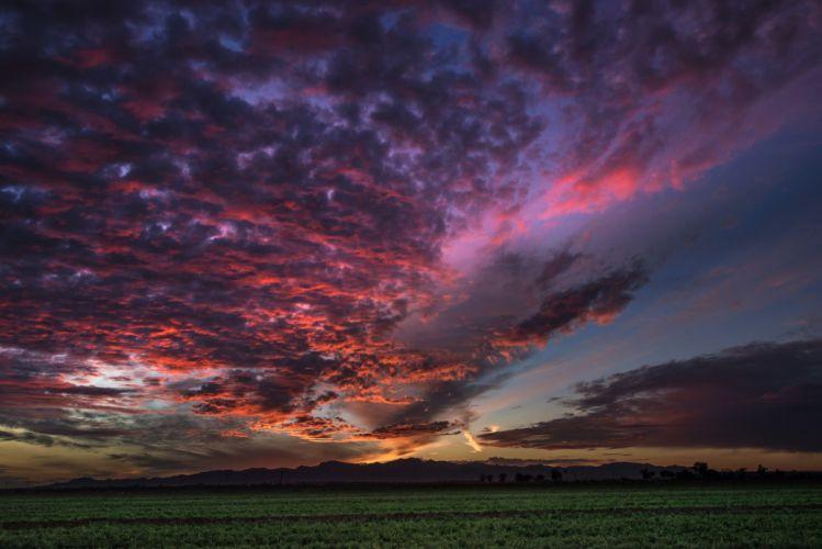 field evening sunset sky mountains wallpaper