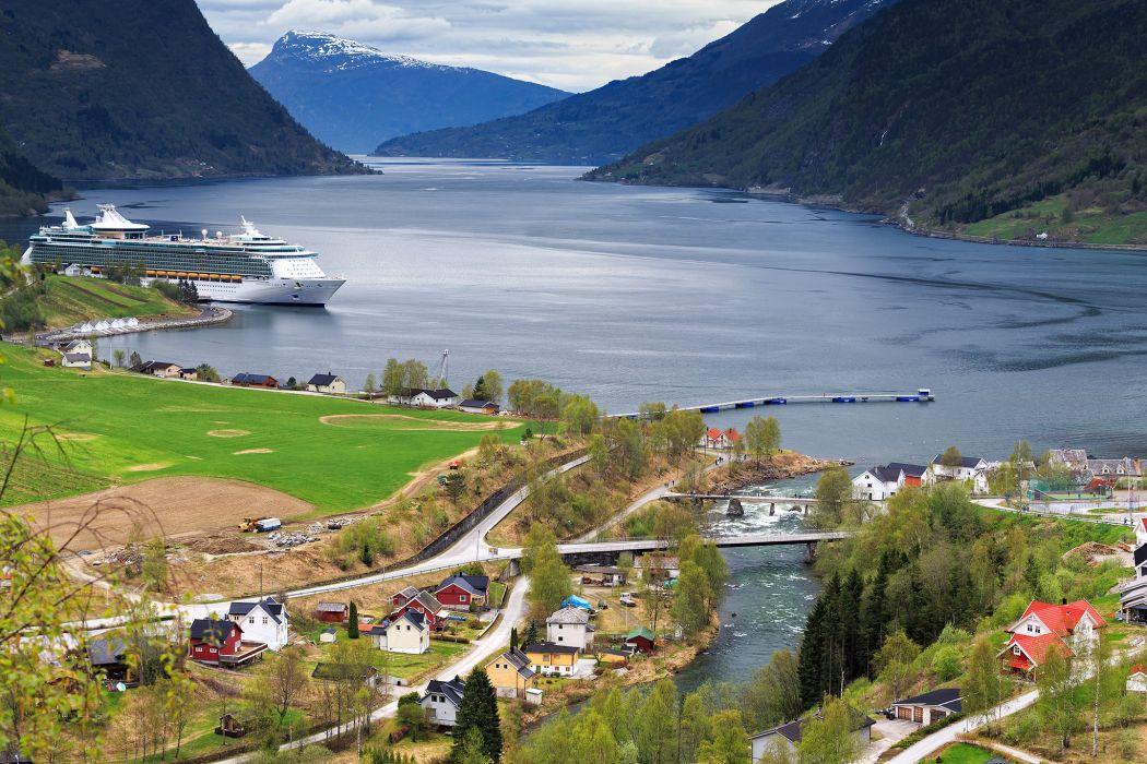 fjord mountains ships landscape wallpaper