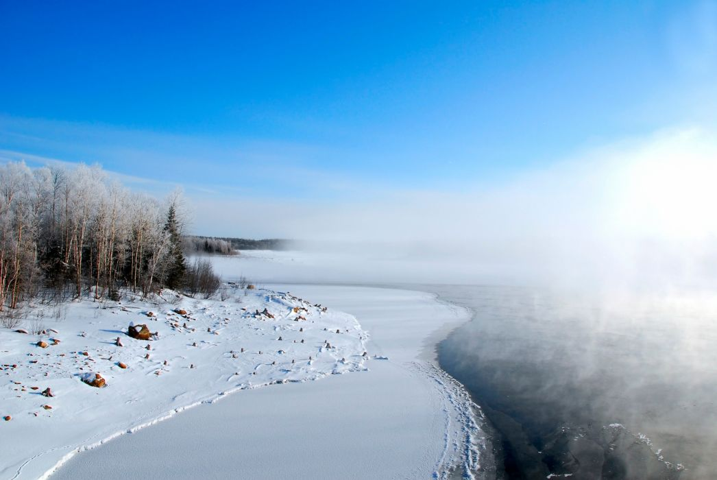 frost lake snow winter wallpaper