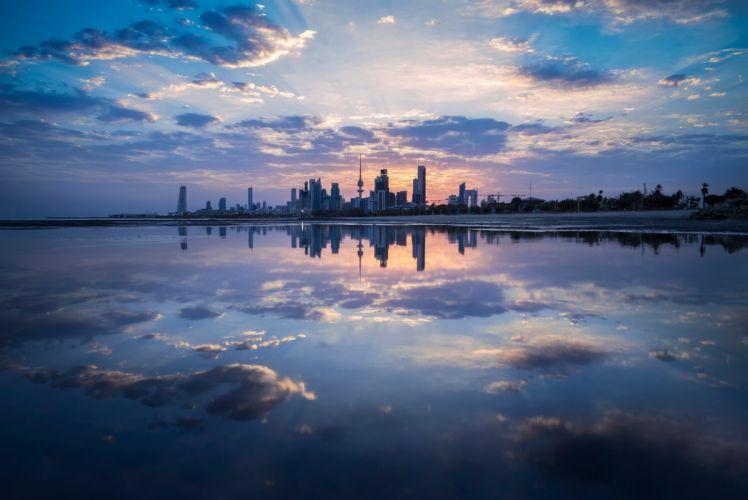kuwait city otrazhenie oblaka city wallpaper