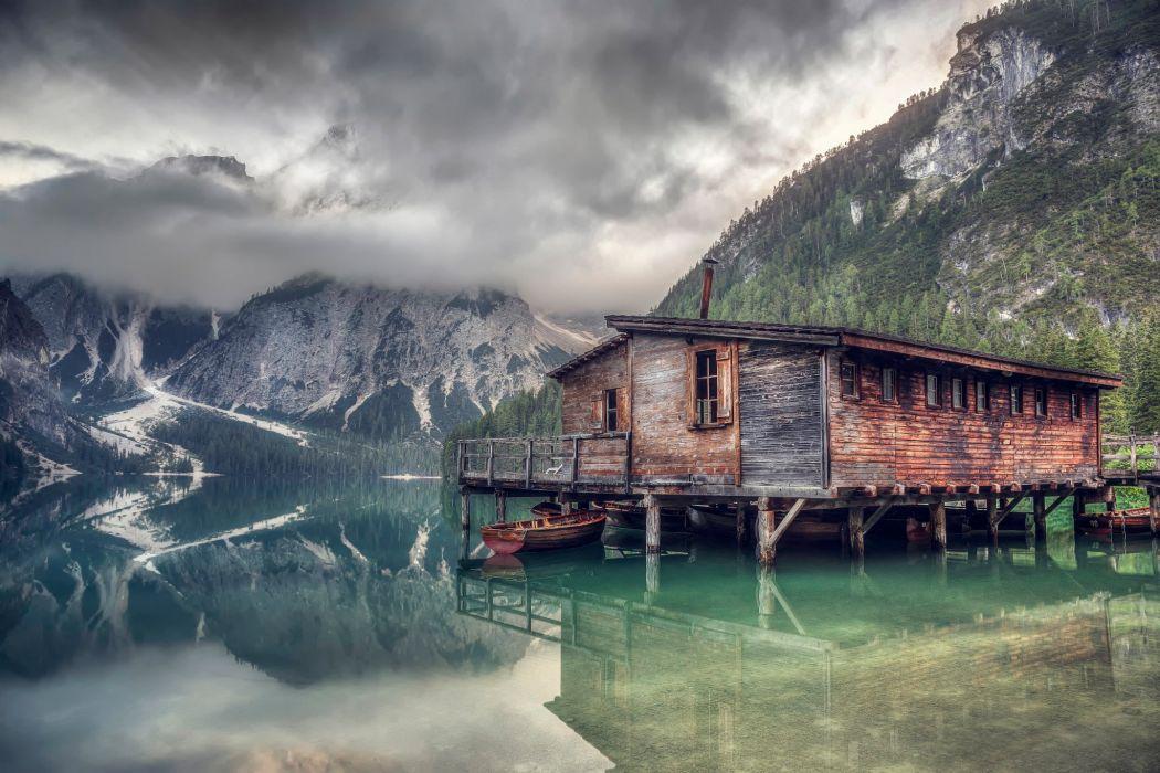 lake reflection dock boat forest mountains landscape wallpaper