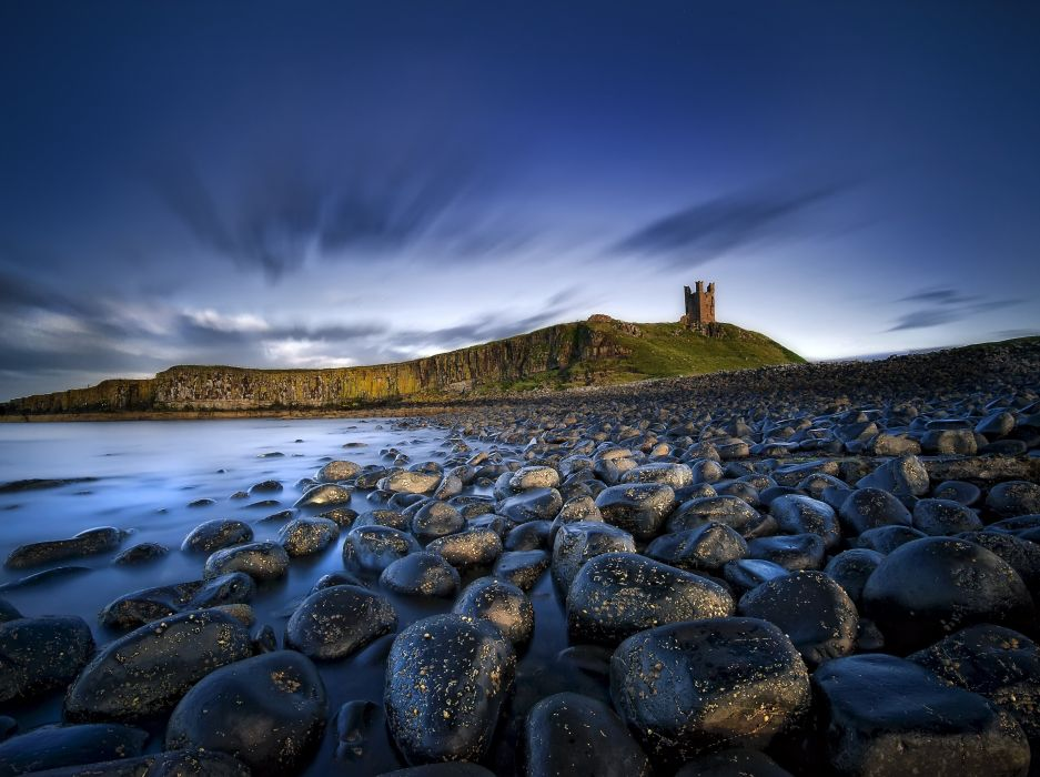 landscape rocks Northumberland wallpaper