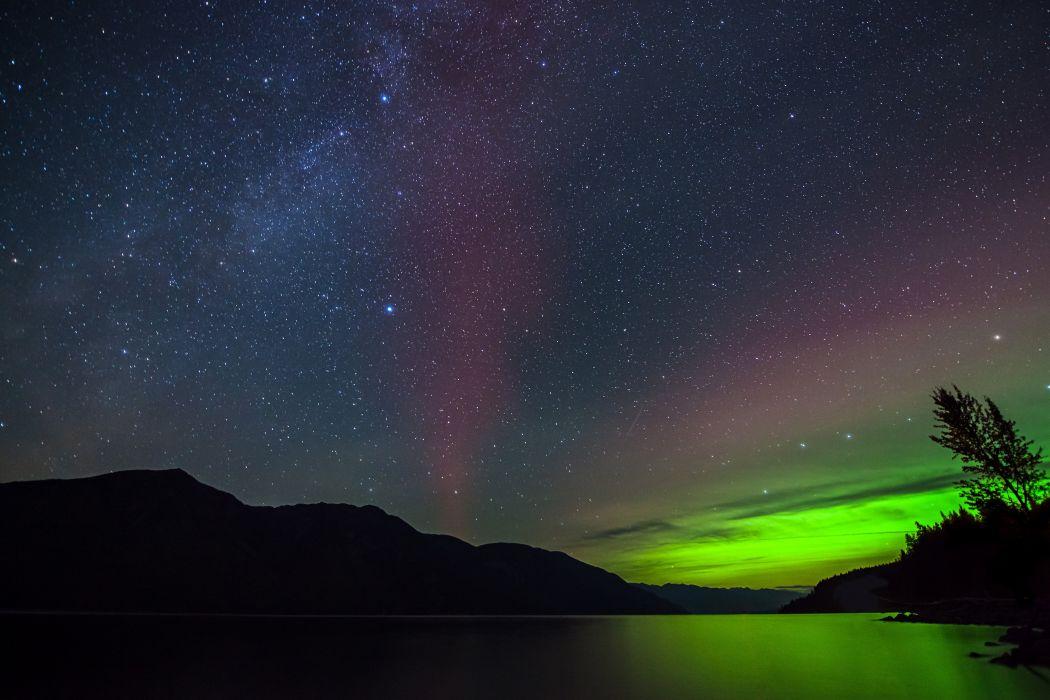 Lake Kootenay Northern Lights stars f wallpaper
