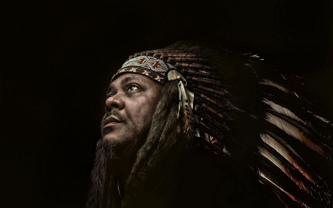 man an Indian portrait american native western rustic wallpaper