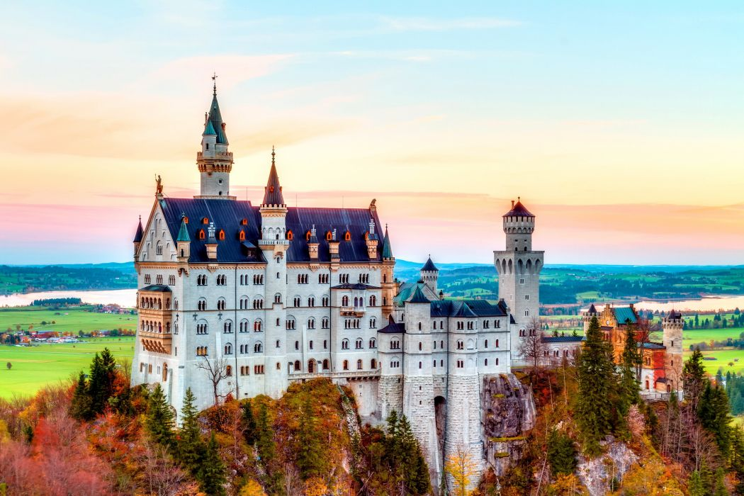 mountain autumn neuschwanstein castle alps germany bavaria wallpaper