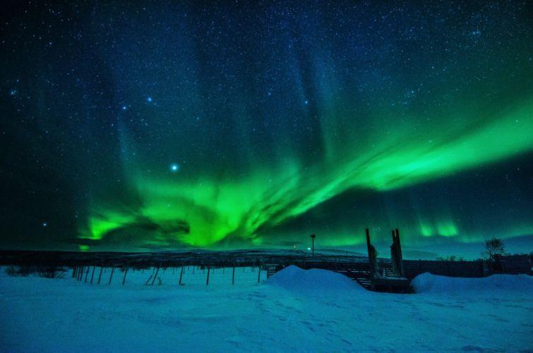 northern lights landscape winter snow EnontekiA wallpaper