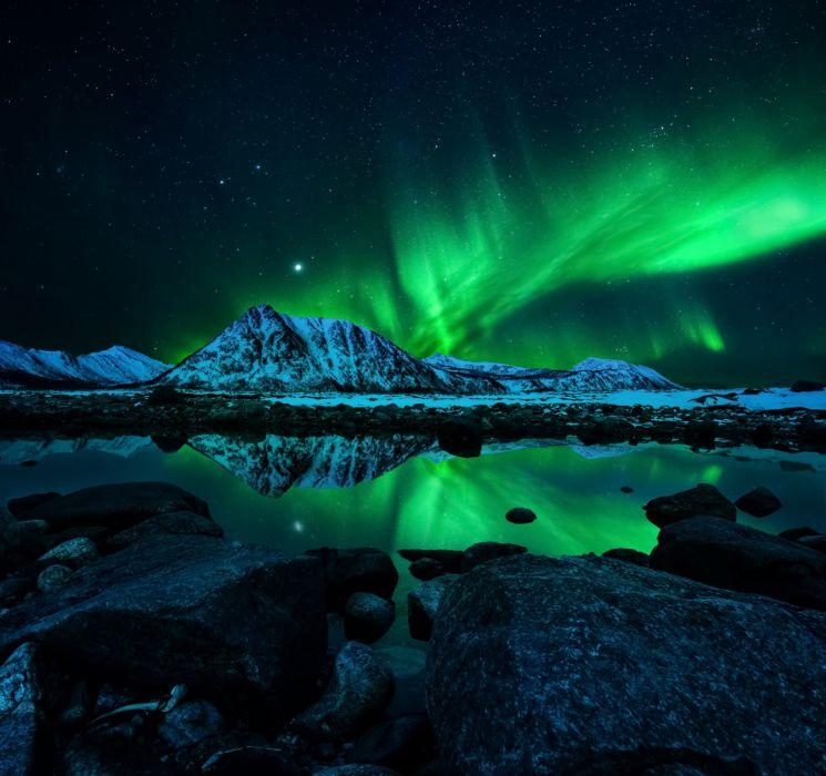 northern lights mountains night wallpaper