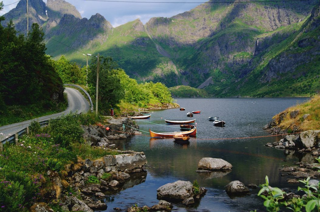 Norway Mountains Lake Roads Boats Stones Scenery Nordland Fylke Nature wallpaper