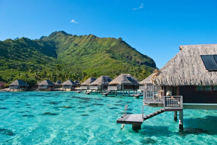 Ocean bungalovy hotel exotic Moorea French Polynesia wallpaper