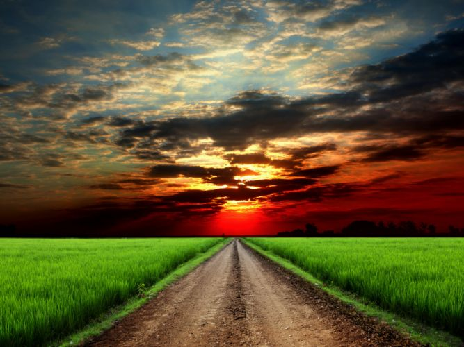 Roads Fields Sunrises and sunsets Sky Clouds Nature wallpaper