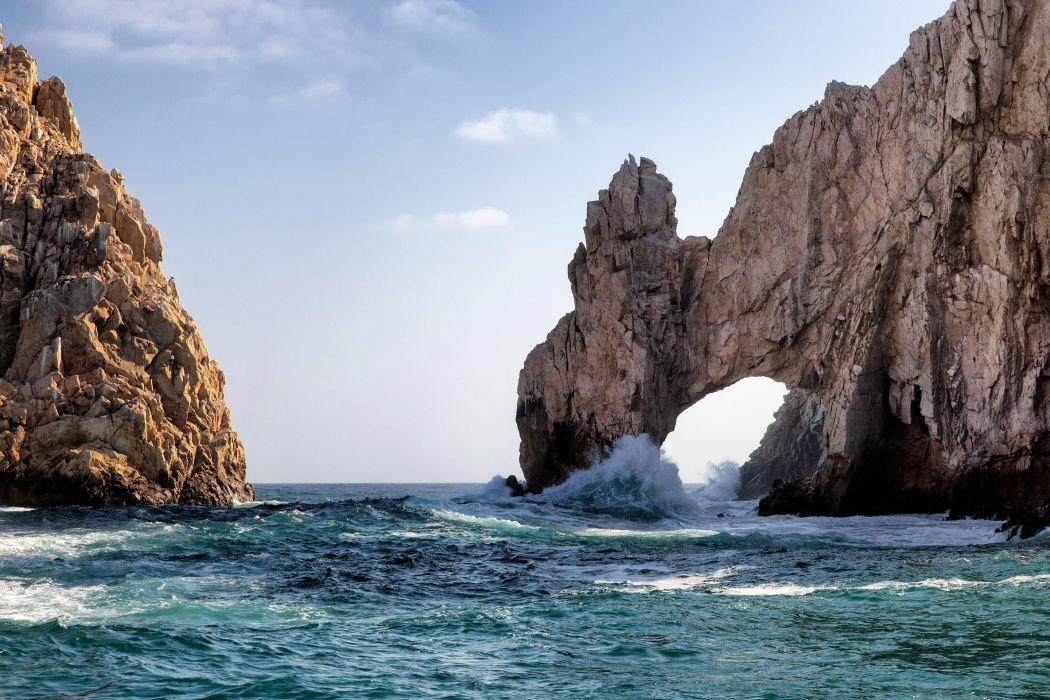 sea rocks arch surf wallpaper