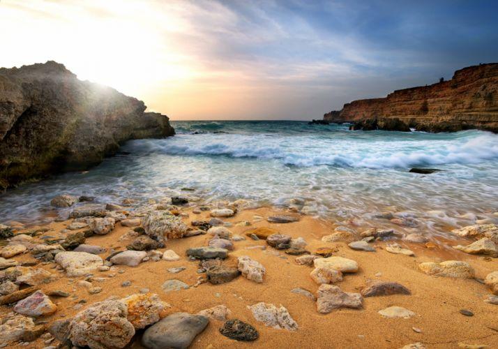 Sea Coast Scenery Stones Nature wallpaper
