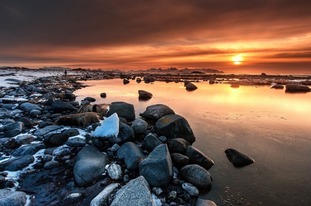 sunset rocks clouds sunset Vesteralen Islands Norway wallpaper