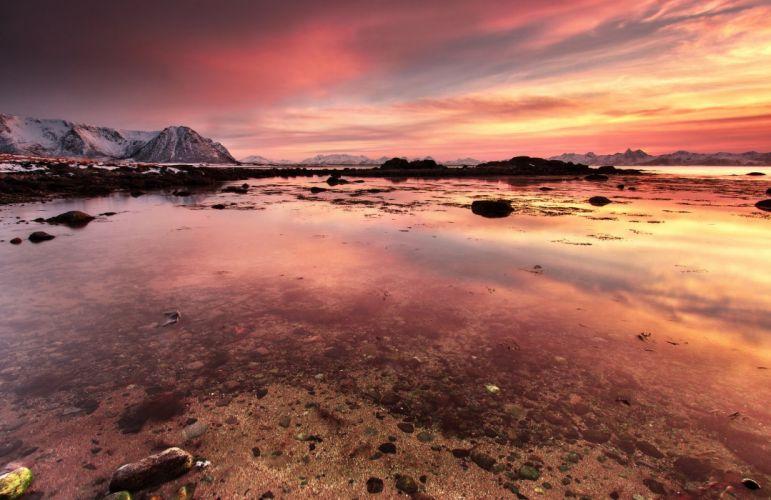 sunset rocks clouds sunset Vesteralen islands norway norway rocks water vesterolen wallpaper