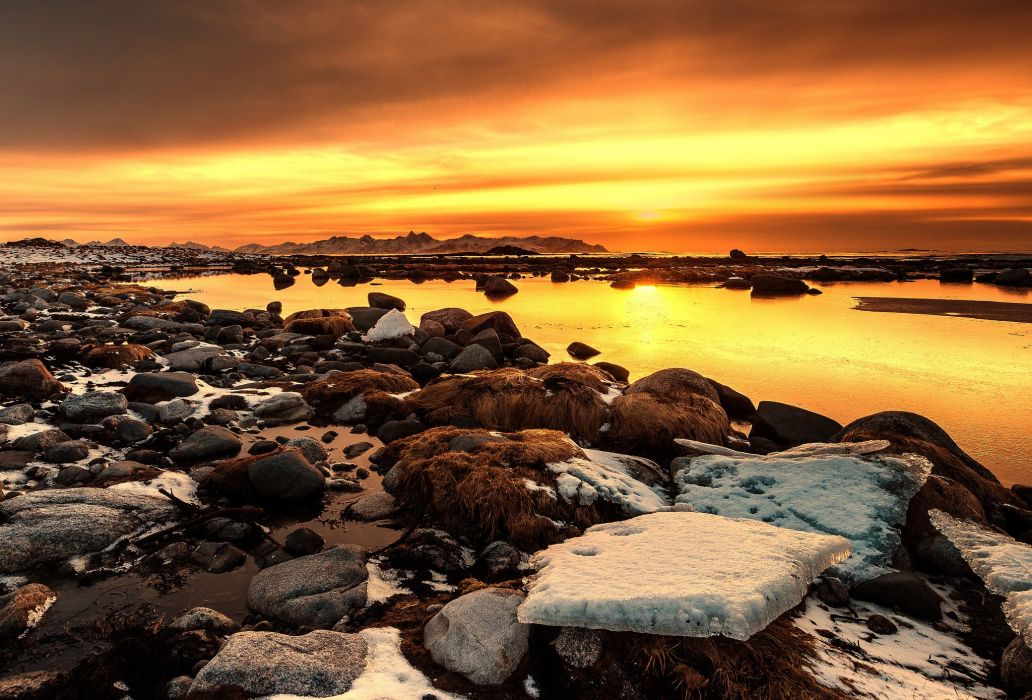 snow water rocks clouds sunset wallpaper