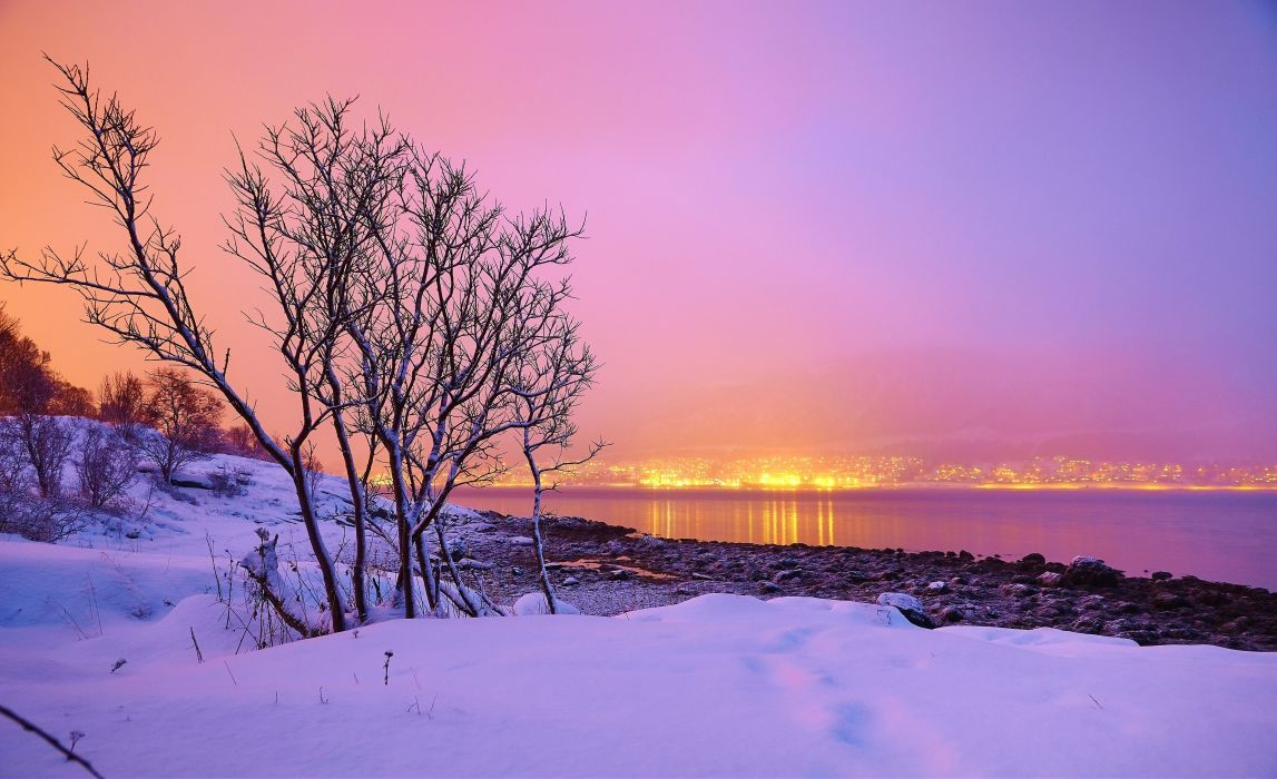 sunset winter river town trees landscape Norway wallpaper