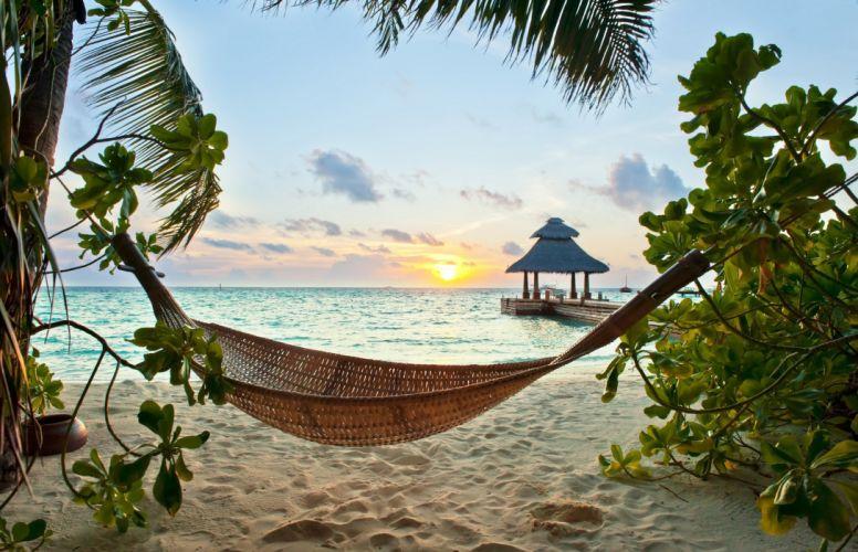 Tropics Sunrises and sunsets Sea Sand Beach Nature wallpaper