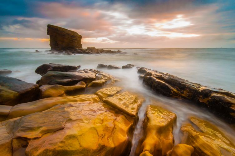 UK England Sea Stone Landscape wallpaper