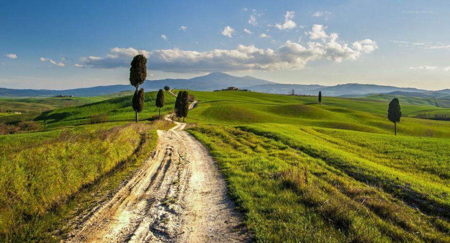 Tuscany road italy hills wallpaper