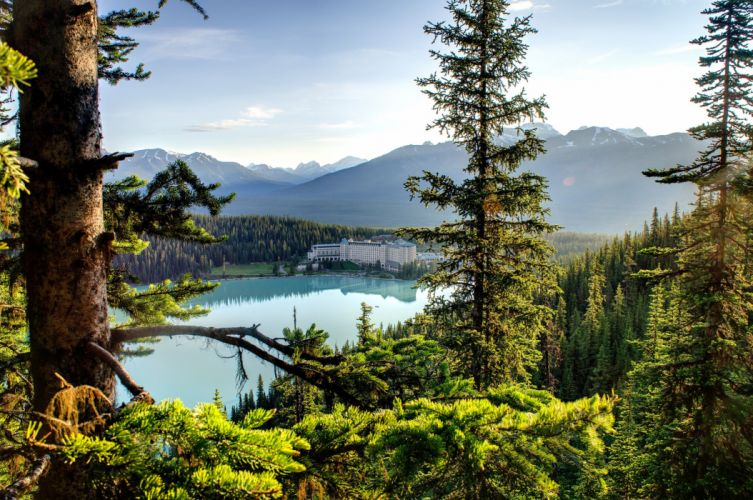 canada trees sky forest lake hotel nature mountains house wallpaper