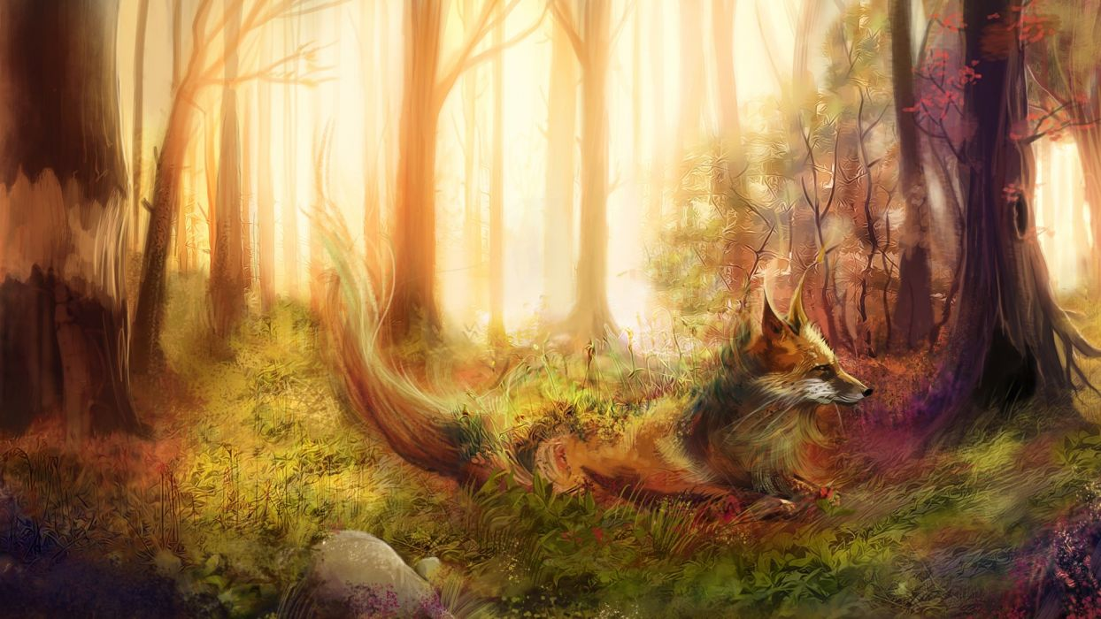 Foxes Painting Art Forest Animals fox wallpaper